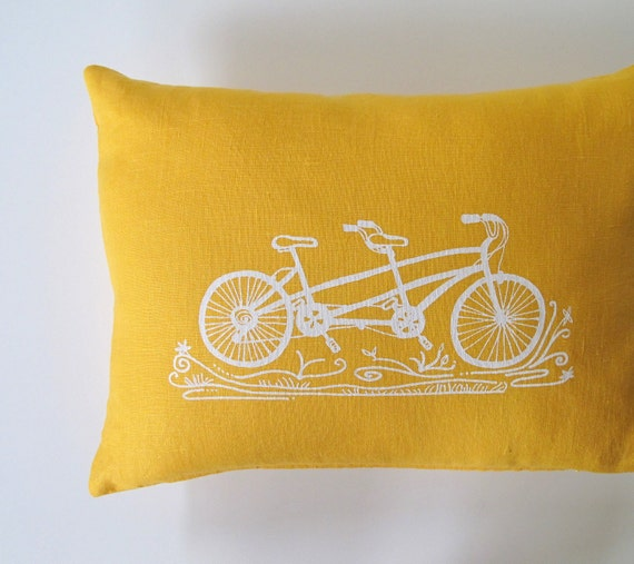 Pillow Cover Cushion Cover - Tandem Bicycle -  12 x 16 inches - Choose your fabric and ink color - Accent Pillow