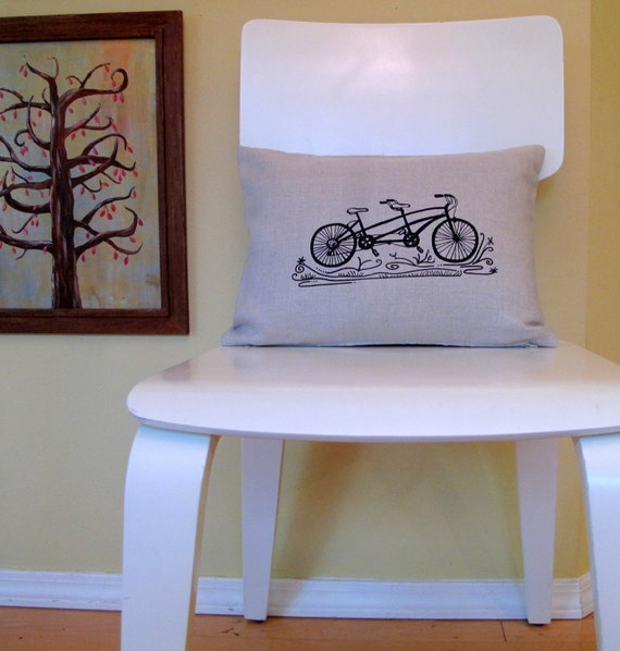 Pillow - Tandem Bicycle  - 12 x 16 inches - Choose your fabric and ink color