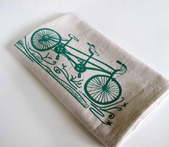 Cotton Kitchen Towel - Tandem Bicycle - Choose your ink color