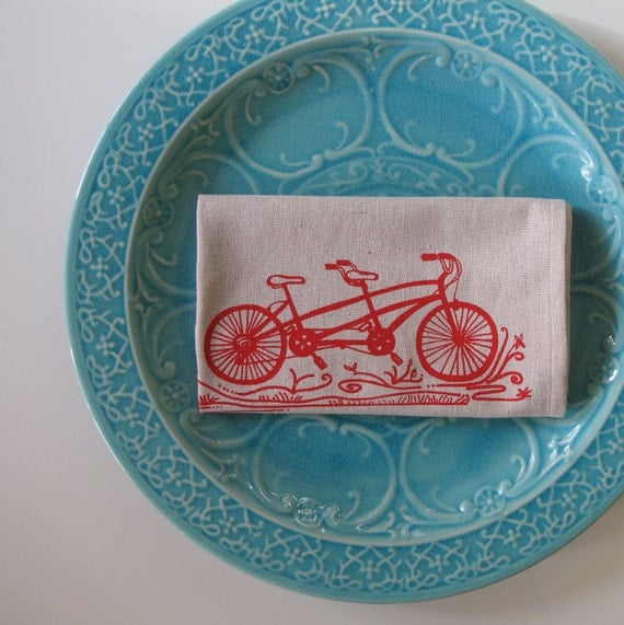 Cotton Kitchen Towel Tandem Bike - Choose your ink color