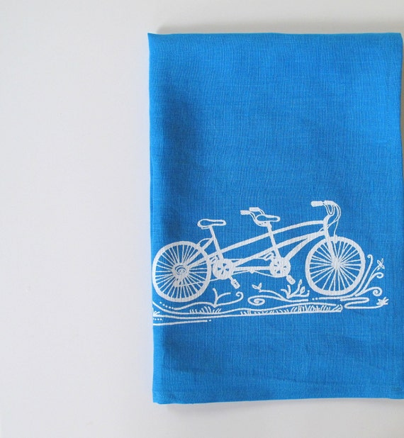 Linen Tea Towel - Tandem Bicycle in White on Blue Linen