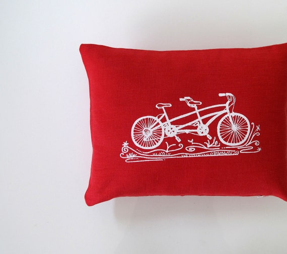 Pillow Cover - Cushion Cover - Tandem Bicycle design - 12 x 16 inches - Choose your fabric and ink color