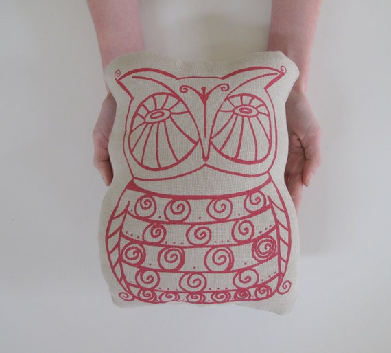 Pillow - Cushion - Owl - Stuffed Pillow - Choose your fabric and ink color