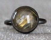 SALE --  Rutilated Quartz Gemstone Ring in Oxidized Sterling Silver