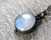 Rainbow Moonstone Necklace in Sterling Silver and Rainbow Moonstone -- The Riffle Necklace