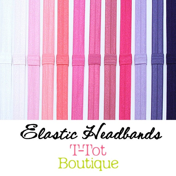 SALE - PICK 6 - Interchangable Elastic Headband - Over 50 colors to choose from
