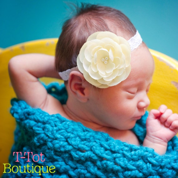 Sweet Baby Maize Light Yellow flower on a White Lace Elastic Headband