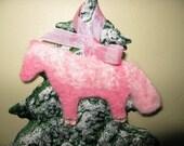 Needle-felted Pink Shetland Pony Ornament sparkly princess
