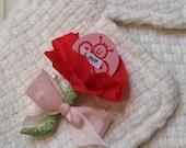 Red Crepe Paper Poppy Valentine Pin \/ Badge
