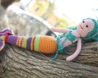 Crochet Mermaid Doll, 12 inch Ariel Little Mermaid inspired, amigurumi mermaid doll, baby shower, Pisces Zodiac, Handmade Turquoise Mermaid