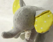 Tula Grey - Plush Gray Fleece Elephant with yellow polka dots on her tummy and chenille tusks