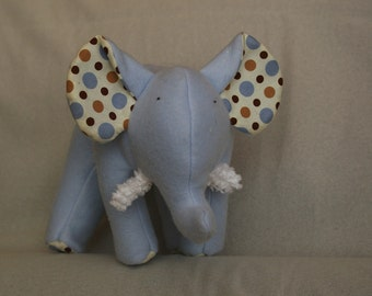 Bailey - Soft Plush Blue Fleece Elephant with Colorful Polka Dots and chenille tusks