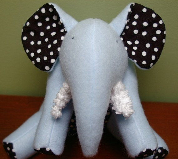 Tomie-Soft Blue Fleece Elephant with White Polka Dots on Black Cotton and chenille tusks