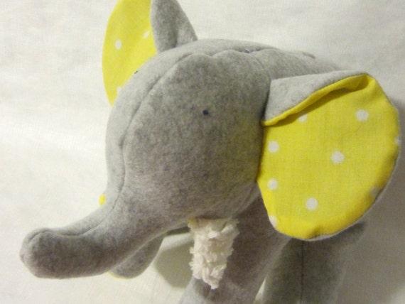 Tula Grey - Plush Gray Fleece Elephant with yellow polka dots on her tummy and chenille tusks - ready to ship