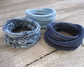 Knitted Cord Bracelets - Set of 3 in Blue Jeans Shades