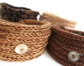 Knitted Cord Bracelets - Set of four in Chocolate and Caramel Brown Shades - On sale