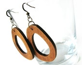 Wood dangle earrings Brown irregular oval