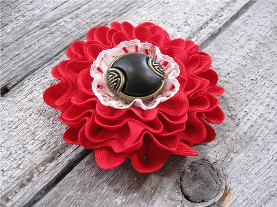 Red Flower Pin with a lace heart and Ric Rac