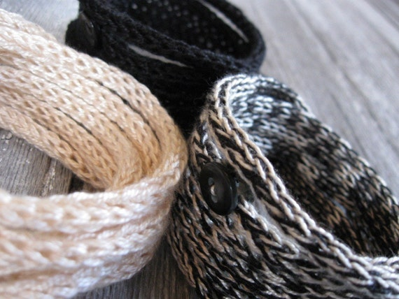 Knitted Cord Bracelets - Set of three in Black Shades - On sale - Free shipping