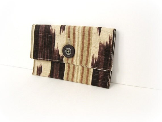 Small Lined Aubergine Button Pouch - Tuckahoe Geometric Print - On sale