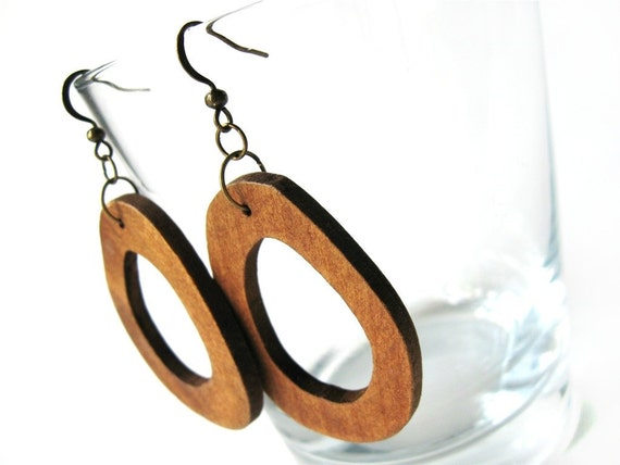 Wood dangle earrings Brown irregular oval
