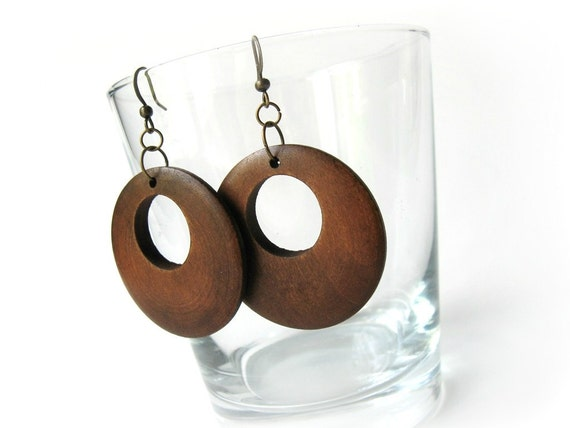 Natural Wood brown circular dangle earrings for her