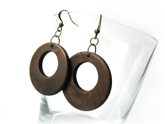 Natural Rustic Wood Dark brown circular dangle earrings for her
