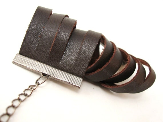 Coffee Brown Leather Fashion Cuff Bracelet - with adjustable gunmetal chain - Eco friendly repurposed leather