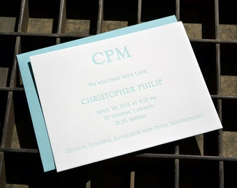 Customizable letterpress birth announcements, free shipping in the US