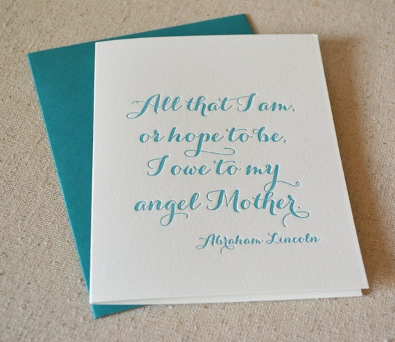 Letterpress card for mom - teal green - thank you, congratulations, wedding, milestone, mother's day