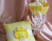 Yellow and White Wedding Flower Girl Basket and Ring Bearer Pillow Set
