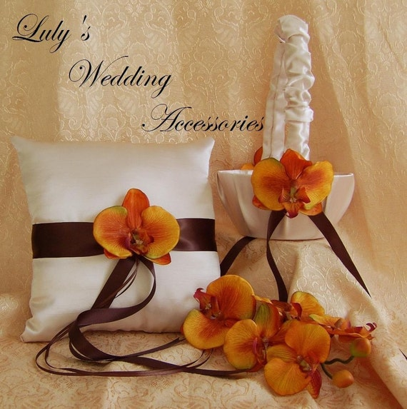 Champagne, Chocolate Brown and Burnt Orange Wedding Colors, Flower Girl Basket and Ring Bearer Pillow Set