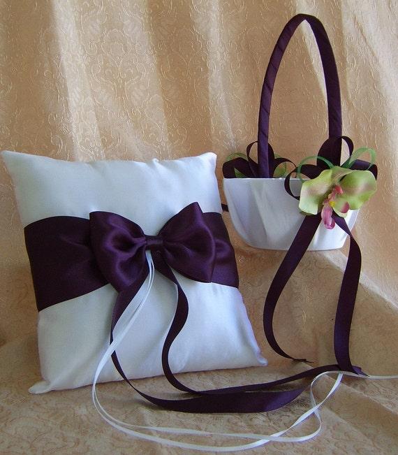 Eggplant Wedding Color Flower Girl Basket And Ring Bearer Pillow Set