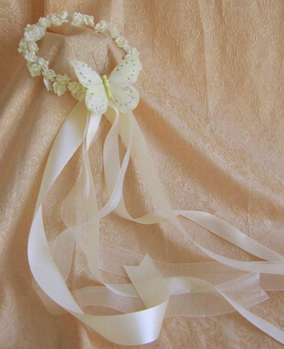 Flower Wreaths For Weddings: Butterfly Wedding Accessories : Flower Girl Wreath Butterfly