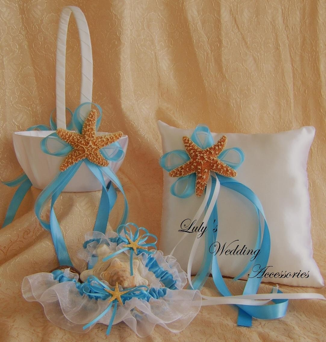 Beach Wedding Flower Girl Basket And Ring Bearer Pillow Set
