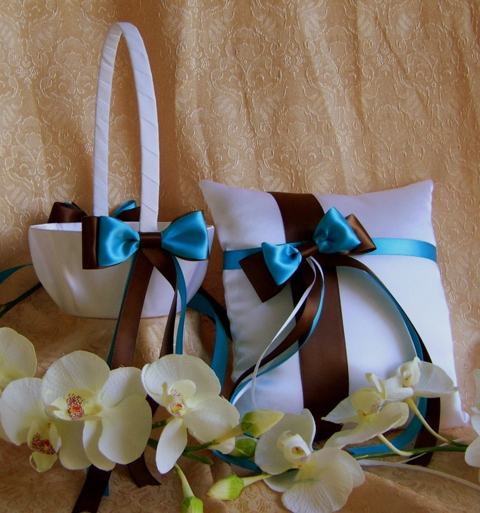 Chocolate Brown And Turquoise Wedding Colors Flower Girl