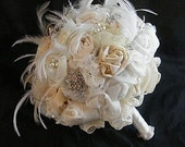 VINTAGE OPULENCE Wedding brooch  Bridal bouquet (large) -ivory - made to order