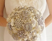 Deposit on large bridal brooch bouquet - pearls and rhinestones - silver - made to order