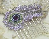 Peacock Feather Bridal Comb - ready to ship