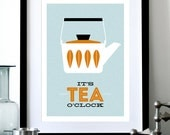 Cathrineholm poster print Mid Century Modern home kitchen art office coffee tea - It's Tea O'clock A3