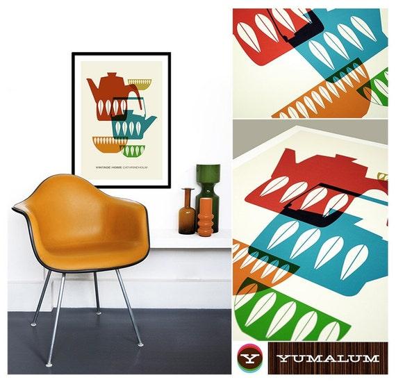 Kitchen art, Cathrinholm poster, Mid Century Modern print, Scandinavian, retro poster - Vintage Home Cathrineholm 1 - Large 50 x 70cm