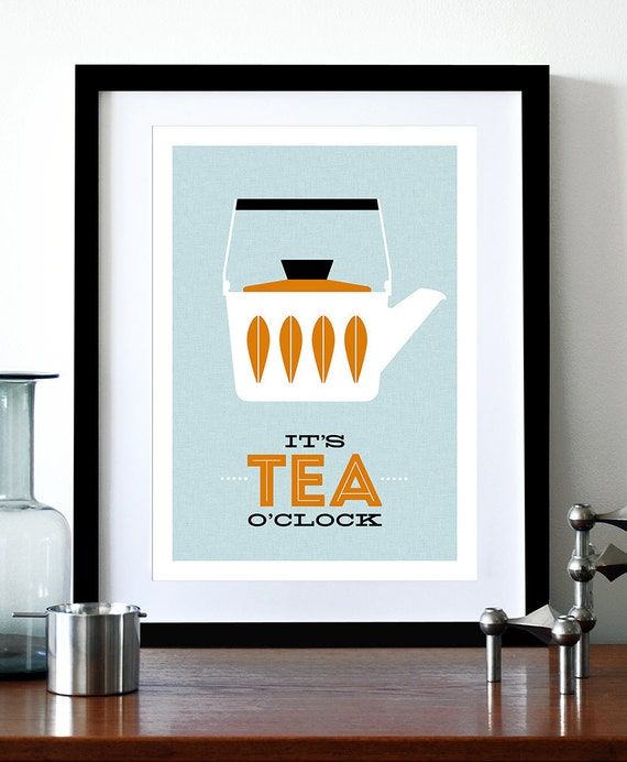 Cathrineholm poster print Mid Century Modern home kitchen art office coffee tea - It's Tea O'clock A3