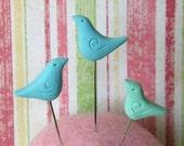 Miniature Blue Birds Sculpture Pin Toppers