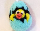 Miniature Needle Felted Easter Egg Ornament - Chick Hatching  Hello World