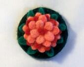 Needle Felted Flower Large Refrigerator Magnet - Felt Pink Zinnia