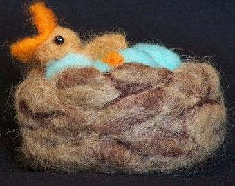 ON SALE - Needle Felted Birds Nest with Baby Bird & Eggs
