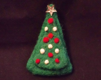 Holiday Pin Brooch Needle Felted Christmas Tree