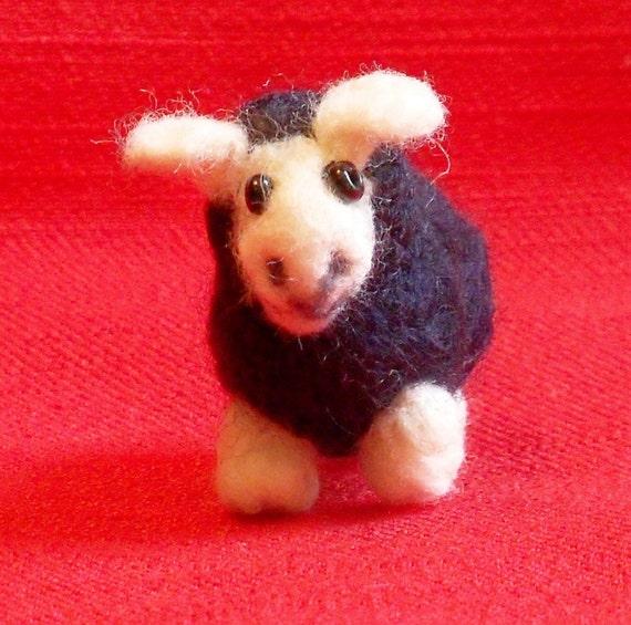 Needle Felted Sheep  Miniature Lamb Black Sheep