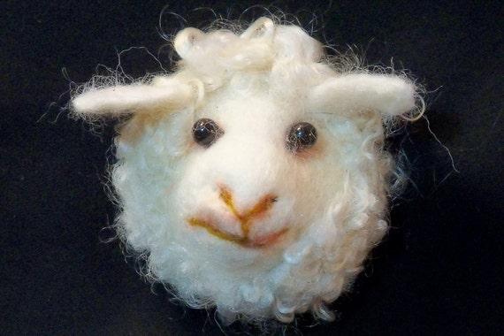 Needle Felted Sheep Lamb - Large Refrigerator Magnet - Felt Animals