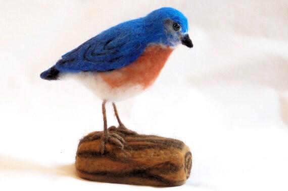 Needle Felted Birds - Bluebird - Felt Birds